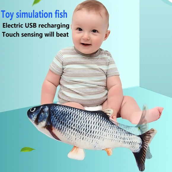 Vibrating Interative Dandcing Moving Fish Toy For Kids Baby Bitable Parent Washable  Electronic Doll Stuffed Animals Plush Toys
