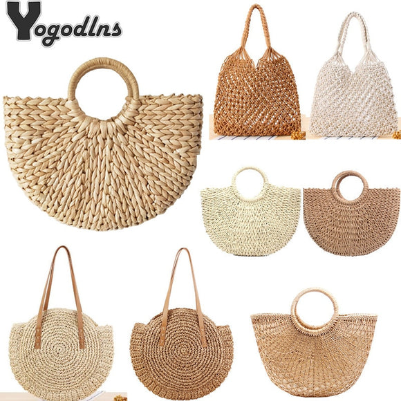 Vintage Straw Bag Round Rattan Bags Handmade Summer Bags Woven Beach Ladies Circle Shoulder Bag Bohemia Girls Travel Handbags - efair Best spare parts online shopping website