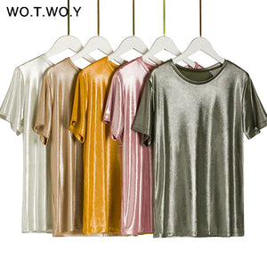 WOTWOY Silver Pressed Knitted T Shirts Women 2019 Summer Sexy Slim O-Neck Short Sleeve Pink T shirt Woman Solid Tees Harajuku - efair.co