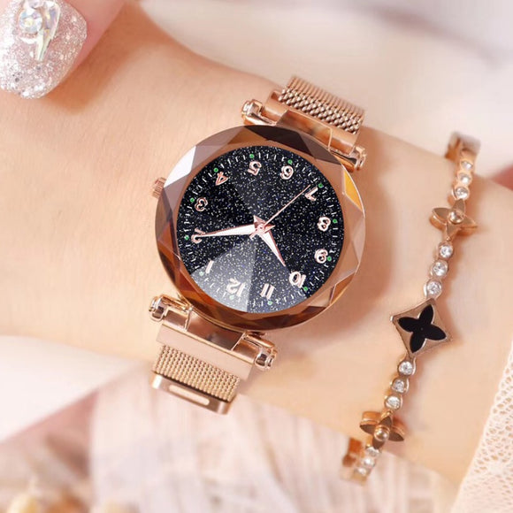 Watches Women Fashion Luxury Stainless Steel Magnetic Buckle Strap Refractive surface Luminous Dial Ladies Quartz Watch - efair Best spare parts online shopping website