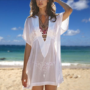 Women Chiffon Beach Transparent Cover Up Swimsuit Swimwear Short Sleeve Deep V Neck Shirt Dress Bathing Bikini Cover-up - efair Best spare parts online shopping website