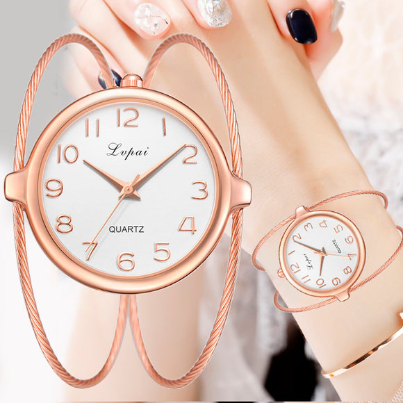 Women Fashion Luxury Watch Bracelet Quartz Dress Watches Rose Gold Small And Exquisite Lvpai Brand Ladies Casual Clock LP353 - efair Best spare parts online shopping website