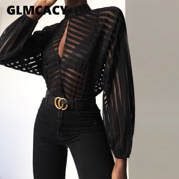 Women Stripes Keyhole Front Mesh Blouse Elegant Basic Black Casual Shirt Female Stylish OL Work Streetwear See Through Shirt - efair Best spare parts online shopping website