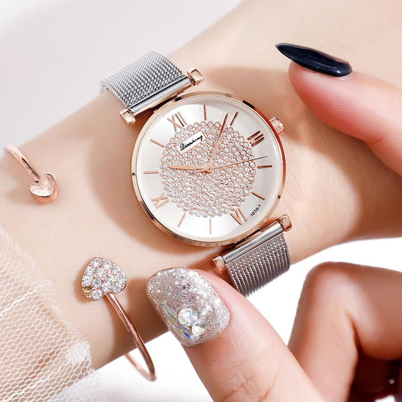 Women Watches Top Brand Luxury 2019 Fashion Diamond Ladies Wristwatches Stainless Steel Silver Mesh Strap Female Quartz Watch - efair Best spare parts online shopping website