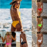 Women Weave Solid Color Will Reveal Back Sexy Swimming Suit Swimwear Female High Waist Yellow Bikini Badeanzug Girls Swimsuit - efair Best spare parts online shopping website