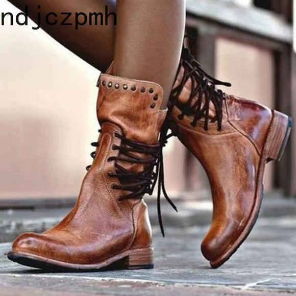 Women's Boots Autumn And Winter The New Round head Lace-up Thick heel Low-heeled Short tube Women's shoes plus size 34-43 - efair.co