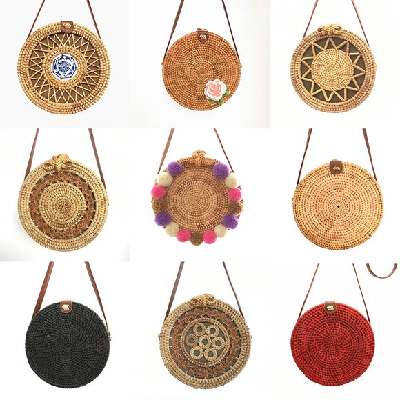 Women's Wicker Bag Handmade Rattan Pack 2019 Bali Bohemia Summer Fashion Hot Shoulder Beach Bag, Crossbody Round STRAW Bag - efair Best spare parts online shopping website