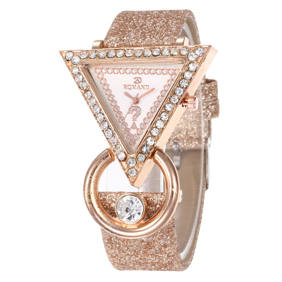 Womens Watches Top Brand Luxury Rhinestone Wrist Watch for Women Glitter Leather Triangle Dial Ladies Clocks Zegarek Damski - efair.co