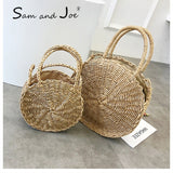 Woven Straw Round Handbag Retro Rattan Women Shoulder Bag Boho Summer Beach Messenger Bags Fashion Designer Female Handbag Totes - efair.co