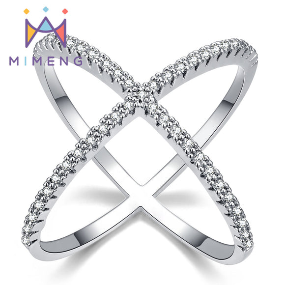 X shape Cross Ring New Design Ring for Women  Filled with Zirconia Newest Design Infinite Ring with Micro Paved CZ M70 - efair Best spare parts online shopping website