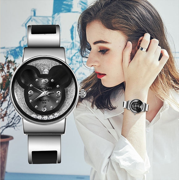 XIRHUA Top Brand Fashion Bangle Watches Women Brand Mickey Mouse Stainless Steel Cartoon Ladies Watch saat relojes mujer montre - efair Best spare parts online shopping website