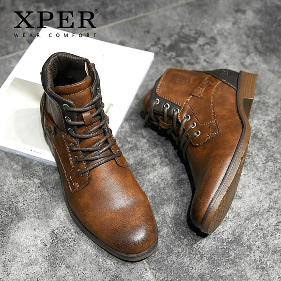 XPER 2019 Spring New Arrivals Fashion Ankle Boots Men Upgrade Motorcycle Boots Wear Comfort Light Winter Shoes Army #XHY12504LG - efair Best spare parts online shopping website