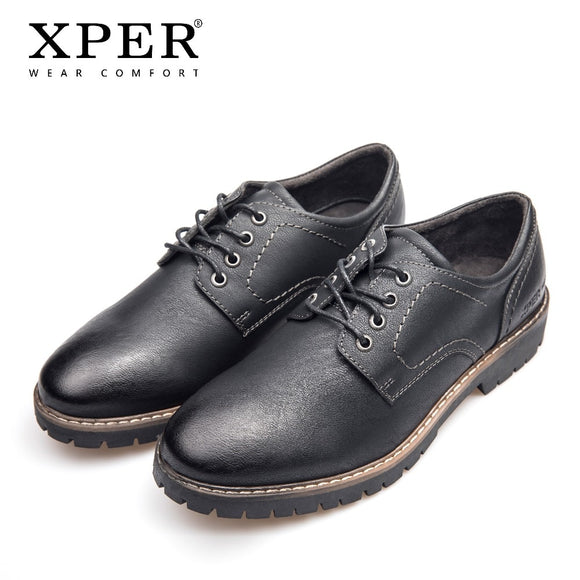 XPER Brand Fashion Men Dress Shoes Leather Lace-Up Oxfords Men Formal Black Footwear Business Autumn Casual Shoes #XHY11201BL/BR - efair Best spare parts online shopping website