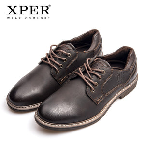 XPER Brand Fashion Men Dress Shoes Rome Leather Oxfords Male Business Footwear Lace-Up Formal Shoes Coffee Casual #XHY12605BR - efair Best spare parts online shopping website