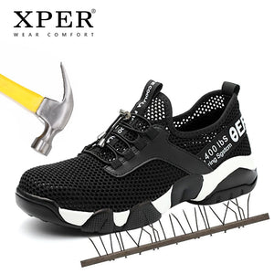 XPER Summer Breathable Men Safety Work Shoes Anti-Puncture Sneaker For Male Anti-Smashing Steel Toe Comfort Casual Shoes #XP032 - efair.co