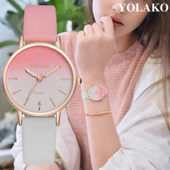 YOLAKO New Arrival Thin Leather Casual Luxury Woman Watch Ladies Quartz Watch Female Bracelet Women Watches Colok Reloj 533 - efair Best spare parts online shopping website