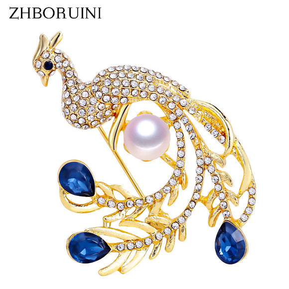 ZHBORUINI 2019 Natural Pearl Brooch Noble Peacock Pearl Breastpin Freshwater Pearl Jewelry For Women Christmas Gift Accessories - efair.co