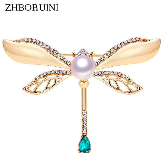 ZHBORUINI 2019 Natural Pearl Brooch Retro Dragonfly Pearl Breastpin Freshwater Pearl Jewelry For Women Birthday Gift Accessories - efair.co