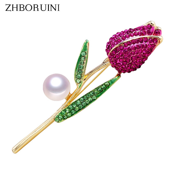 ZHBORUINI 2019 New Natural Pearl Brooch Rose Flower Corsage Pearl Breastpin Freshwater Pearl Jewelry For Women Gift Accessories - efair Best spare parts online shopping website