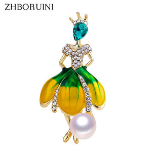 ZHBORUINI 2019 New Pearl Brooch Dancing Girl Pearl Breastpin Natural Freshwater Pearl Jewelry For Women High Quality Gift Pin - efair.co
