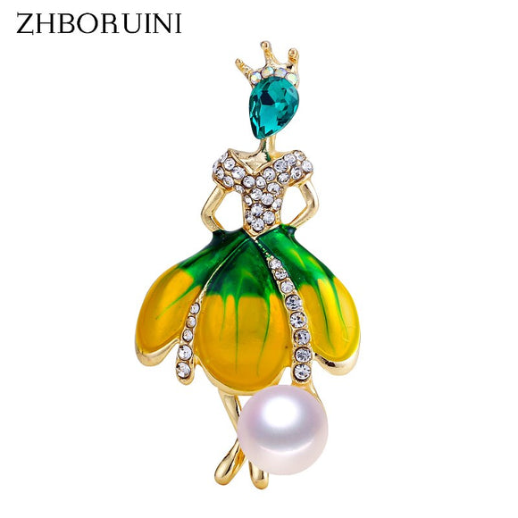 ZHBORUINI 2019 New Pearl Brooch Dancing Girl Pearl Breastpin Natural Freshwater Pearl Jewelry For Women High Quality Gift Pin - efair Best spare parts online shopping website
