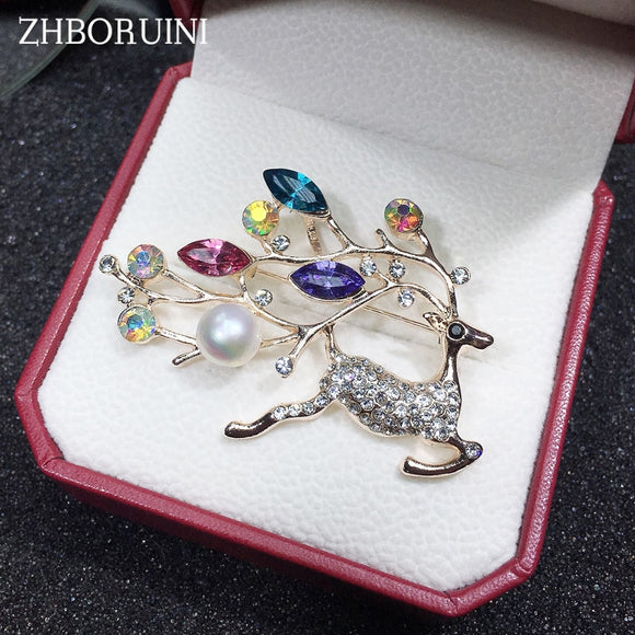 ZHBORUINI High Quality Natural Freshwater Pearl Brooch Pearl Deer Brooch Pearl Jewelry For Women Gift Accessories Christmas Gift - efair.co