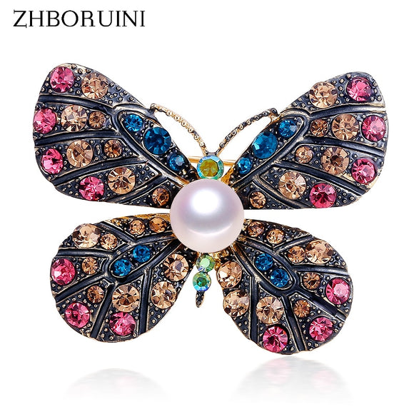 ZHBORUINI High Quality Natural Freshwater Pearl Brooch Pearl Vintage Butterfly Brooch Pearl Jewelry For Women Gift Accessories - efair Best spare parts online shopping website