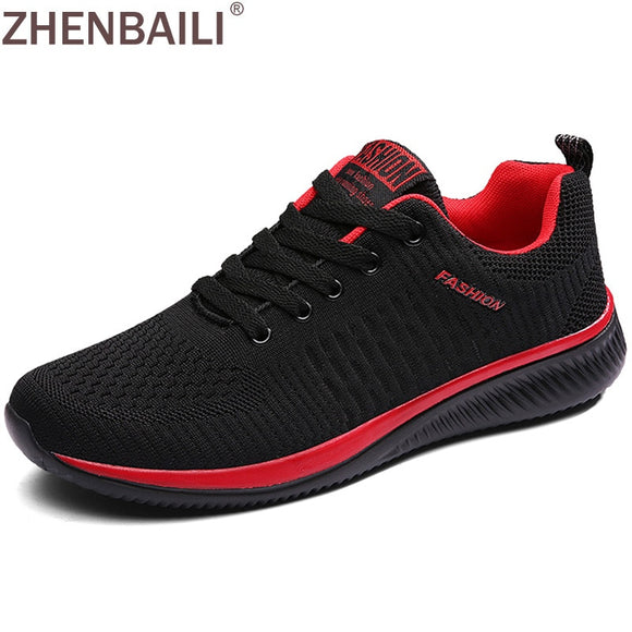 ZHENBAILI Men Casual Shoes Summer Breathable Mesh Knit Sneakers Lace-up Trainers Comfortable 2019 Women Male Flat Sport Shoes - efair.co