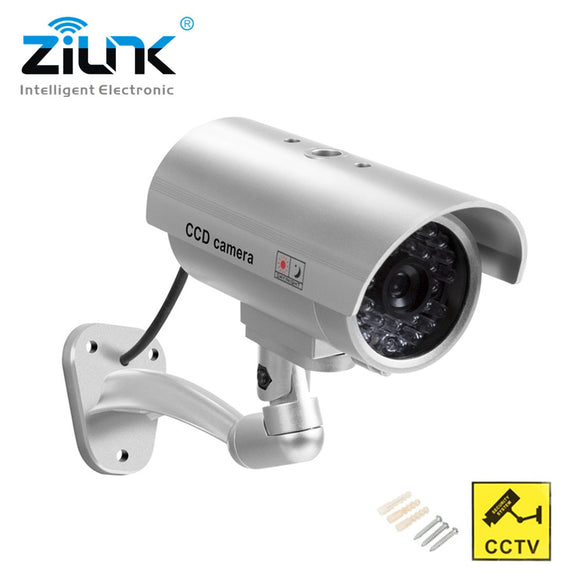 ZILNK Waterproof Dummy Camera Bullet Flashing Red LED Outdoor Indoor Fake CCTV Security Simulation Camera Silver Free Shipping - efair.co