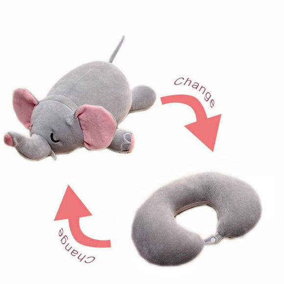creative travel neck pillow changeable elephant pillow stuffed nanoparticle foam also change to be a doll swag gift toy for kids - efair Best spare parts online shopping website