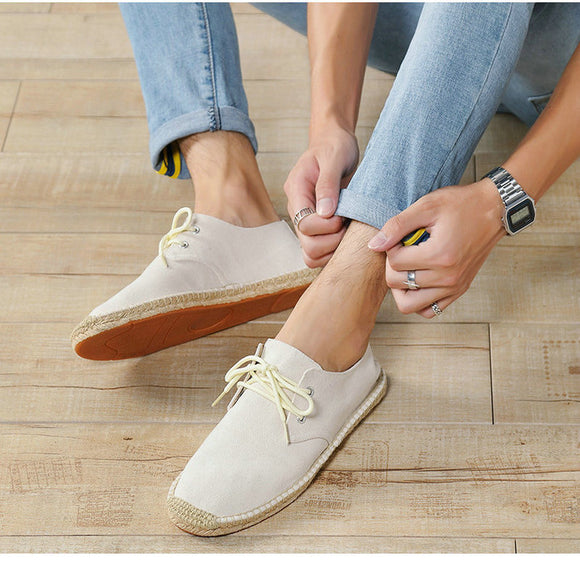 summer Black White Bule male casual Canvas Hemp Insole Fisherman Light Shoes Ethnic Style men Espadrille Flats Shoes II-08z - efair.co