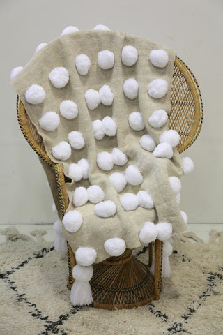 Pompom throw natural/white FP010