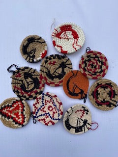 Navajo dolls and mini basket ornaments by Charity Rosales