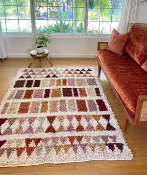 Wool shag rug geometric earth tones