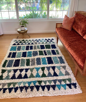 Wool shag rug geometric blues
