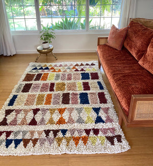 Wool shag rug geometric multicolor