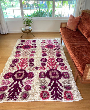 Wool shag rug floral pinks
