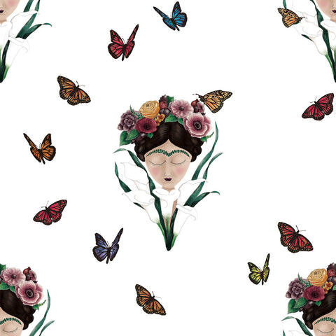 Frida wallpaper white/ small frida