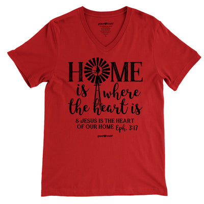 grace & truth Womens V-neck T-Shirt Home Windmill