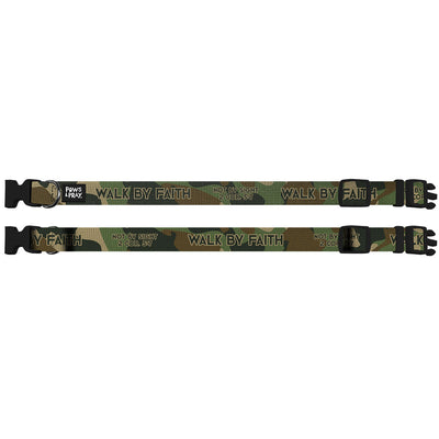 Paws & Pray Walk By Faith Camo Pet Collar