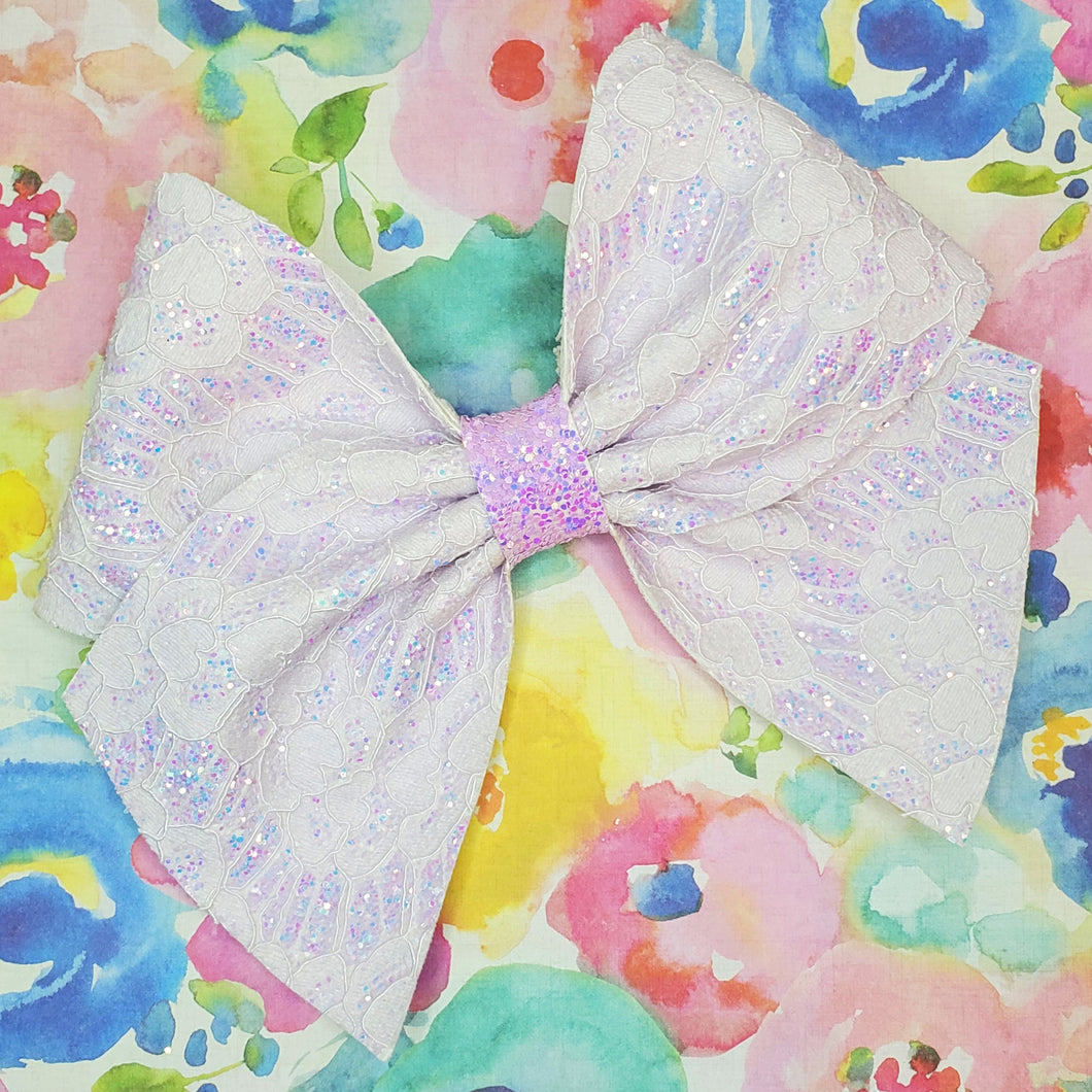 Lilac Iridescent Glitter Lace Bow