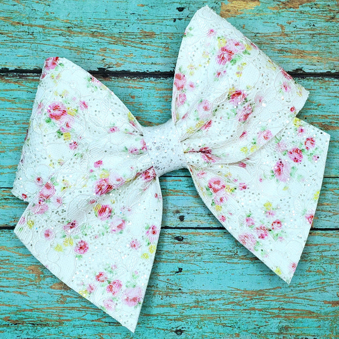 White Floral Lace Leatherette Bow (RTS)