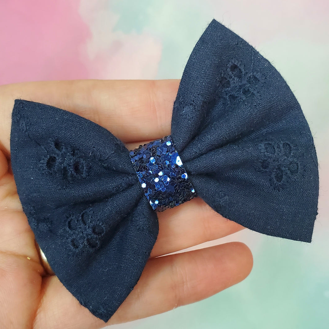 Navy Eyelet Mini Everly Teeny Bow