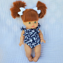 Load image into Gallery viewer, Navy Botanical LOU Ruffle Romper - DOLL