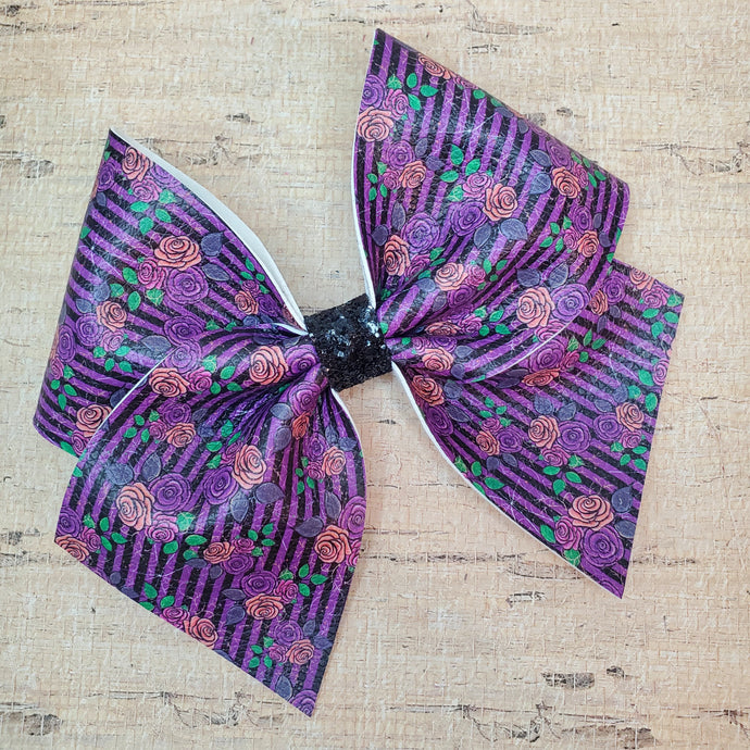 Spooky Floral Leatherette Bow