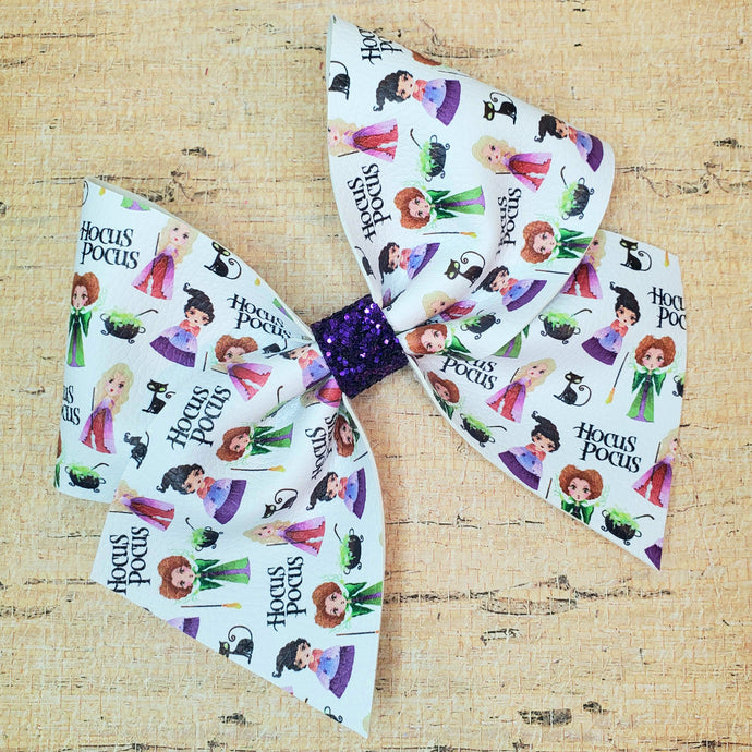 Spooky Sisters Leatherette Bow