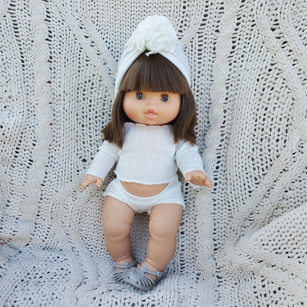 White LOUISA Lounge Set with Ruffle Turban