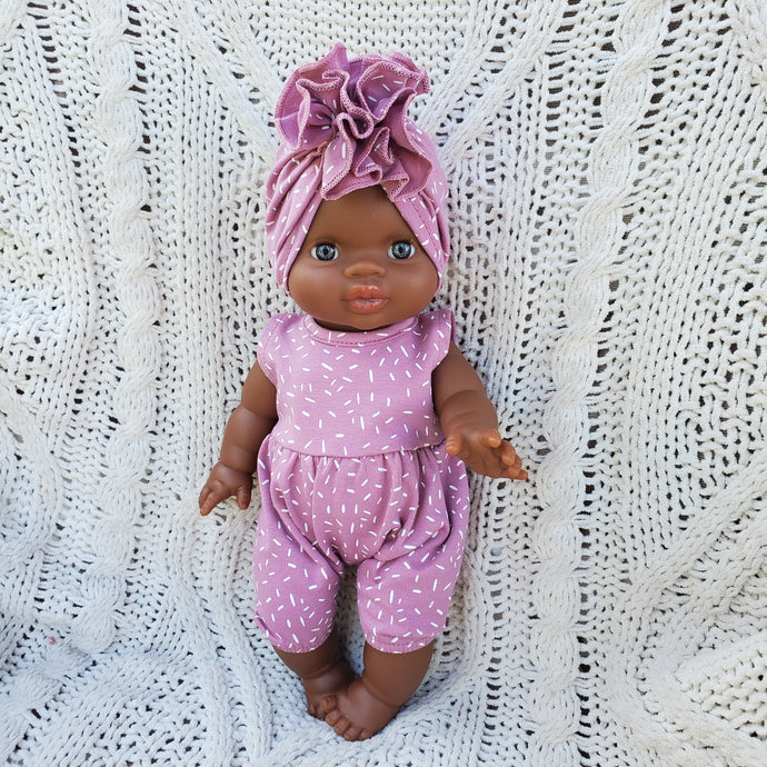 Rose Dot NOA Romper with Ruffle Turban