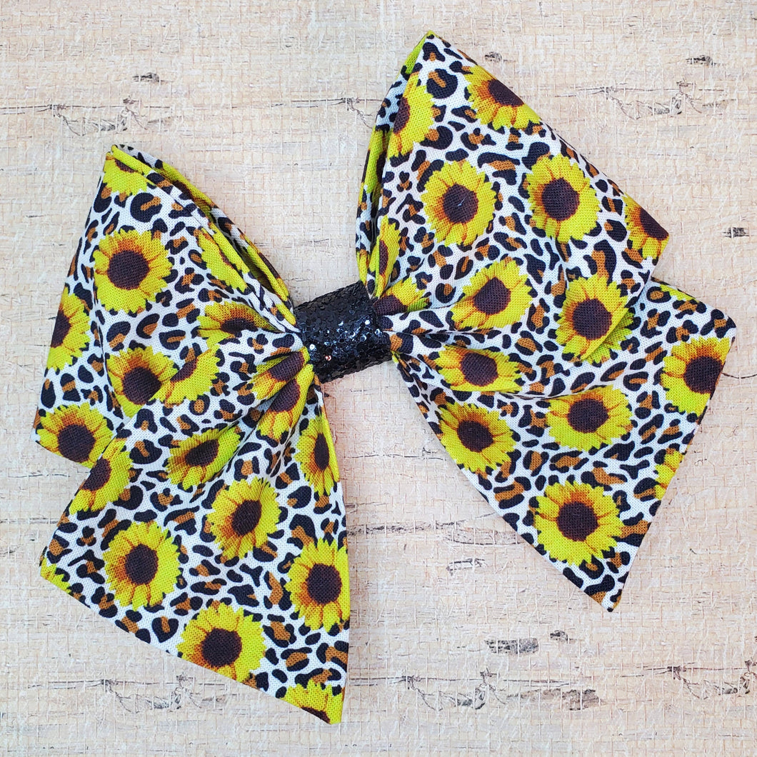 Leopard Sunflower Bria Bow (RTS)