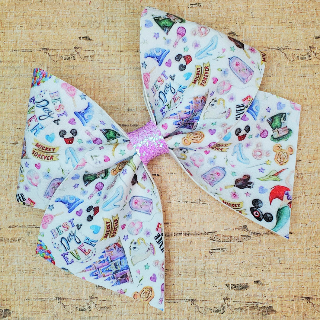 Best Day Ever Leatherette Bow (RTS)